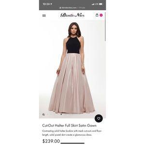 Cut-Out Halter Full Skirt Satin Gown